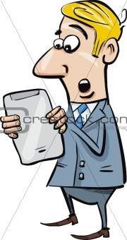 startled businessman with tablet