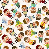 seamless cartoon office worker pattern