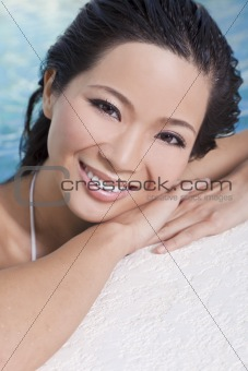 Beautiful Sexy Chinese Oriental Asian Woman In Swimming Pool