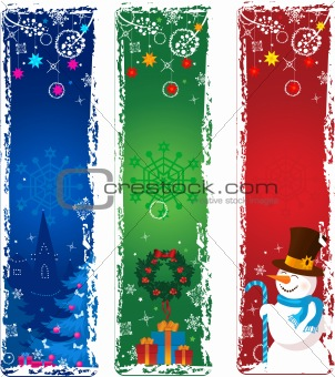 Three vertical Christmas banners