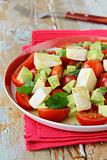 salad with cheese camembert and tomato