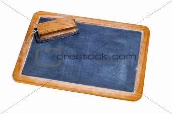 old blackboard and eraser