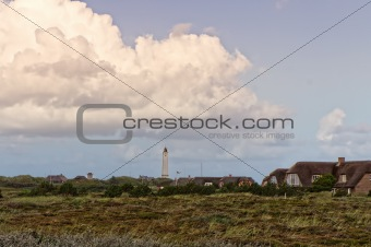 Lighthouse in Blaavand at the Danish North sea coast