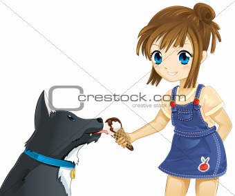 Child and dog best friends