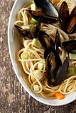 cooked mussels and spaghetti with wine sauce