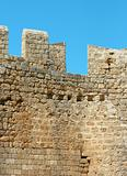 Walls of ancient acropolis at Lindos, Rhodes Island (Greece)