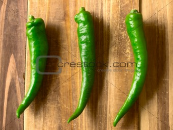 green chilies on table