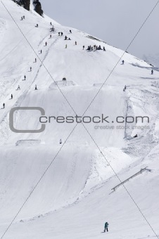 Snowboard park at ski resort