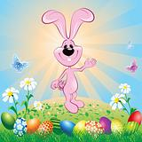 Easter Bunny On Meadow