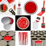 Red painting objects