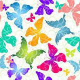 Colorful butterflies. Seamless pattern