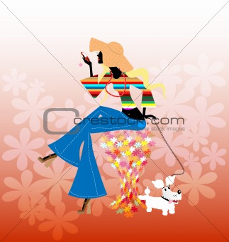 abstract blonde girl and dog