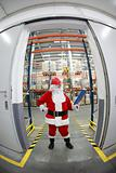 santa claus manager in storehouse