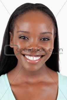 Close up of happy smiling woman