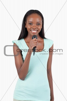 Brightly smiling female singer