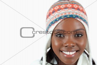 Close up of smiling woman with hat on
