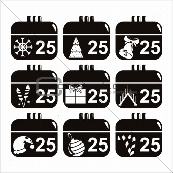 black christmas calendar icons
