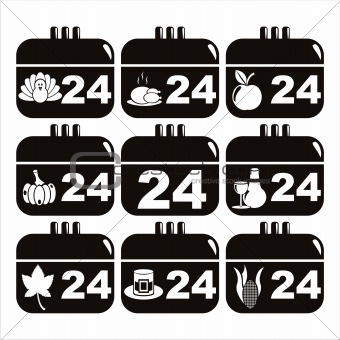 black thanksgiving day calendar icons