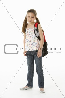 Studio Portrait of Girl Standing with backpack