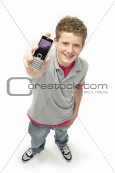 Portrait of Smiling Teenage Boy Holding Mobile Phone