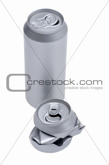 Crumpled beverage can isolated on white