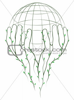 Green hands and globe
