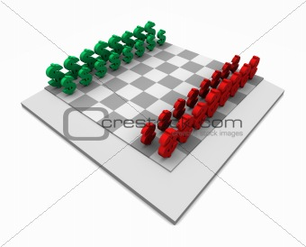 Chess Board with Dollars Red & Green