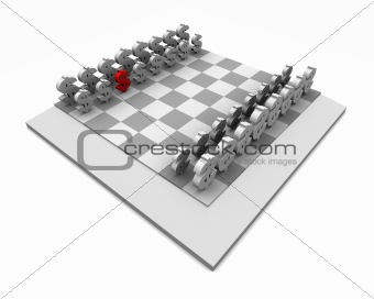 Chess Board with One Red Dollar Symbol