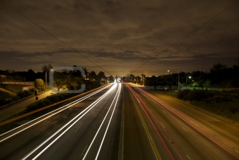 Los Angeles Freeway Traffic at Night