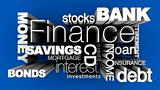 Financial Words 3D Blue