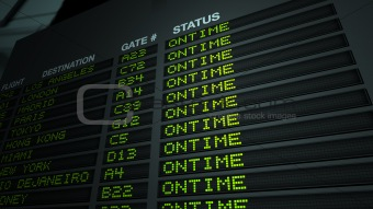 Flight Information Board, On Time
