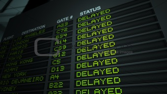 Airport Flight Information Board, Delayed
