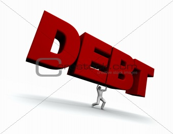 Man Lifing the Word DEBT