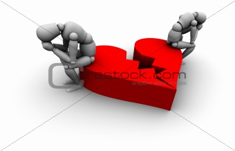 Couple Sitting on Broken Heart