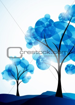 winter background, a tree in the snow