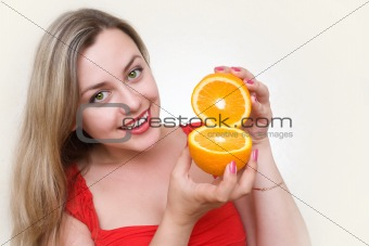 attractive girl with orange
