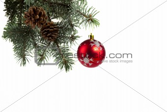 Spruce twigs decorated with a  ball