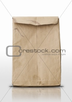 Crumpled brown envelope with reflect