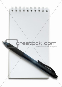 Black pen and small white notebook on white