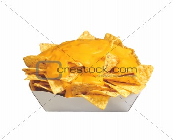 potato chips with cheese isolated on white background