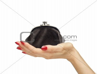 black purse in woman hand isolated on white