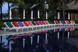 Sunbeds lined up at pool close to Kamala beach