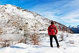 Hiker Winter Mountain Lake