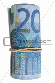 A roll of 20 Euro notes with an elastic band wrapped around.
