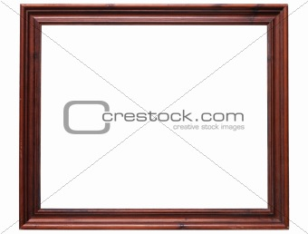 Old wooden frame isolated on a white background.