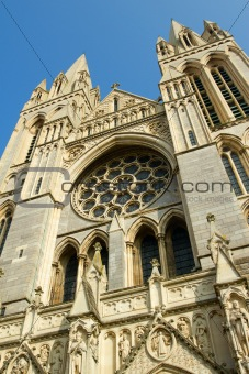 Close up of the front of Truro Cathedral, Cornwall UK.