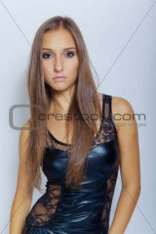sexy young girl in black dress