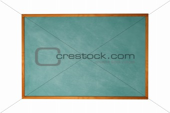 Blank blackboard with wood frame isolated on white background