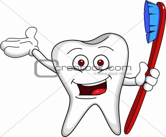Tooth character with brush
