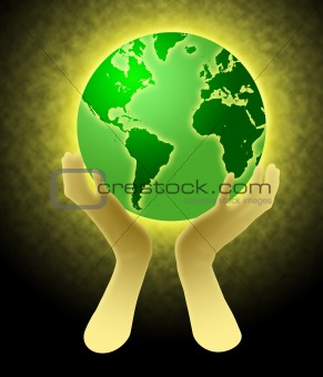 Hands Holding World Globe Illustration